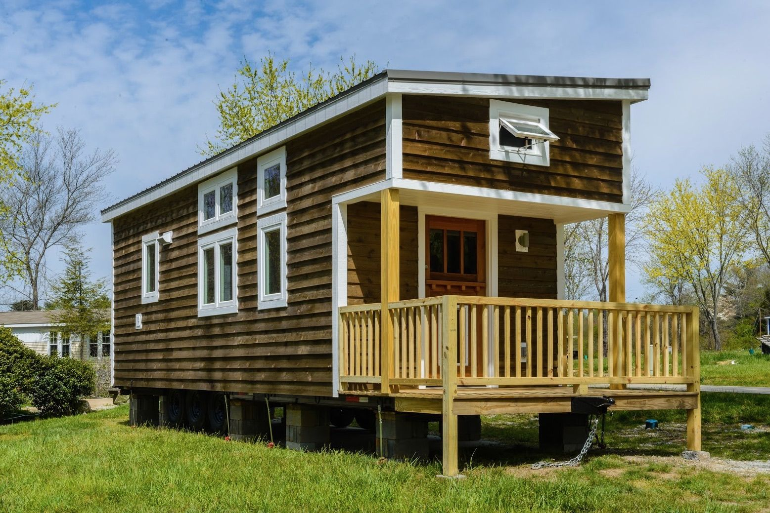 This is a 300 sq ft custom tiny home on wheels by for 300 square foot house