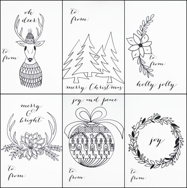 Free printable christmas tags that you can color free printable free printable christmas tags you can color and customize along with free printable cards to add negle Choice Image
