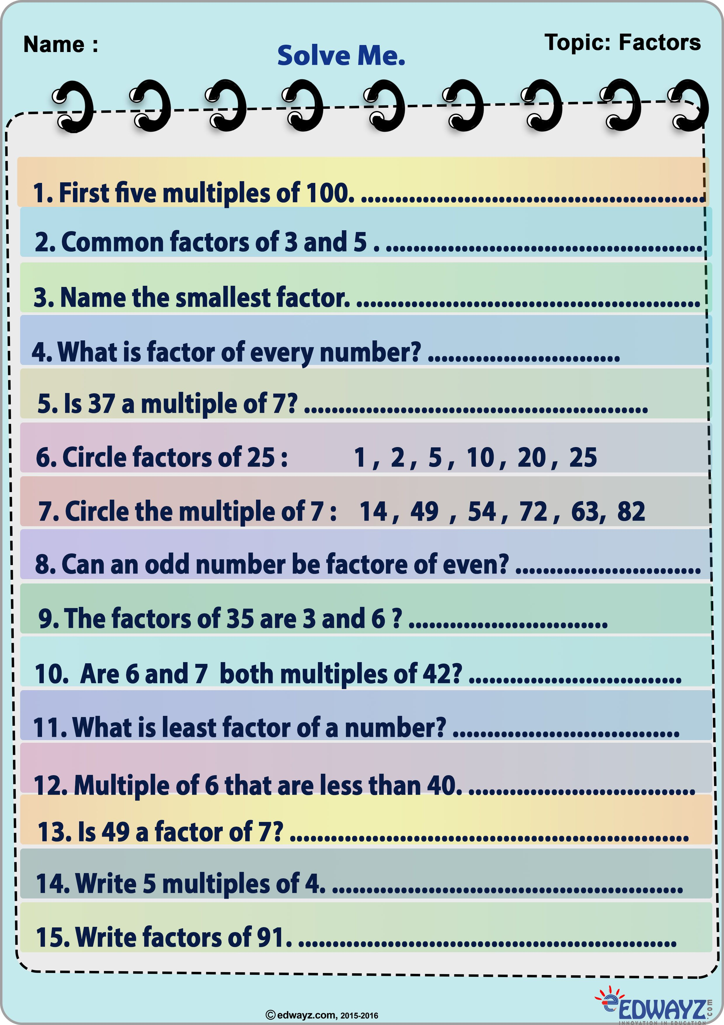Worksheets Math Factors Kids Funlearning Edwayz