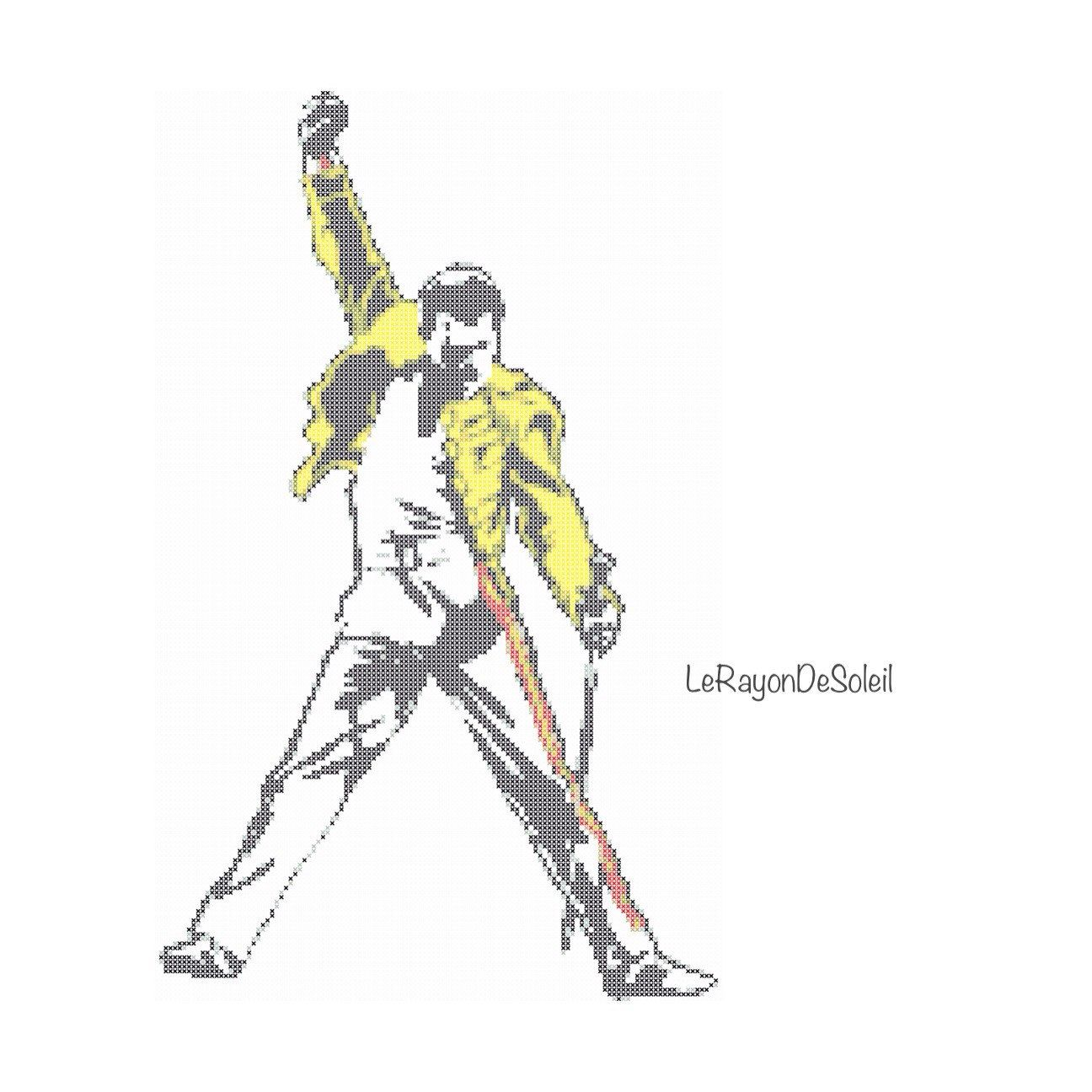 Fredmercury Modern Cross Stitch Pattern Queen Tribute