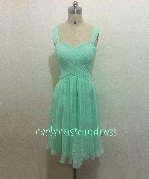 Short Mint Green Bridesmaid Dress/Grey Coral Blush Pink ...