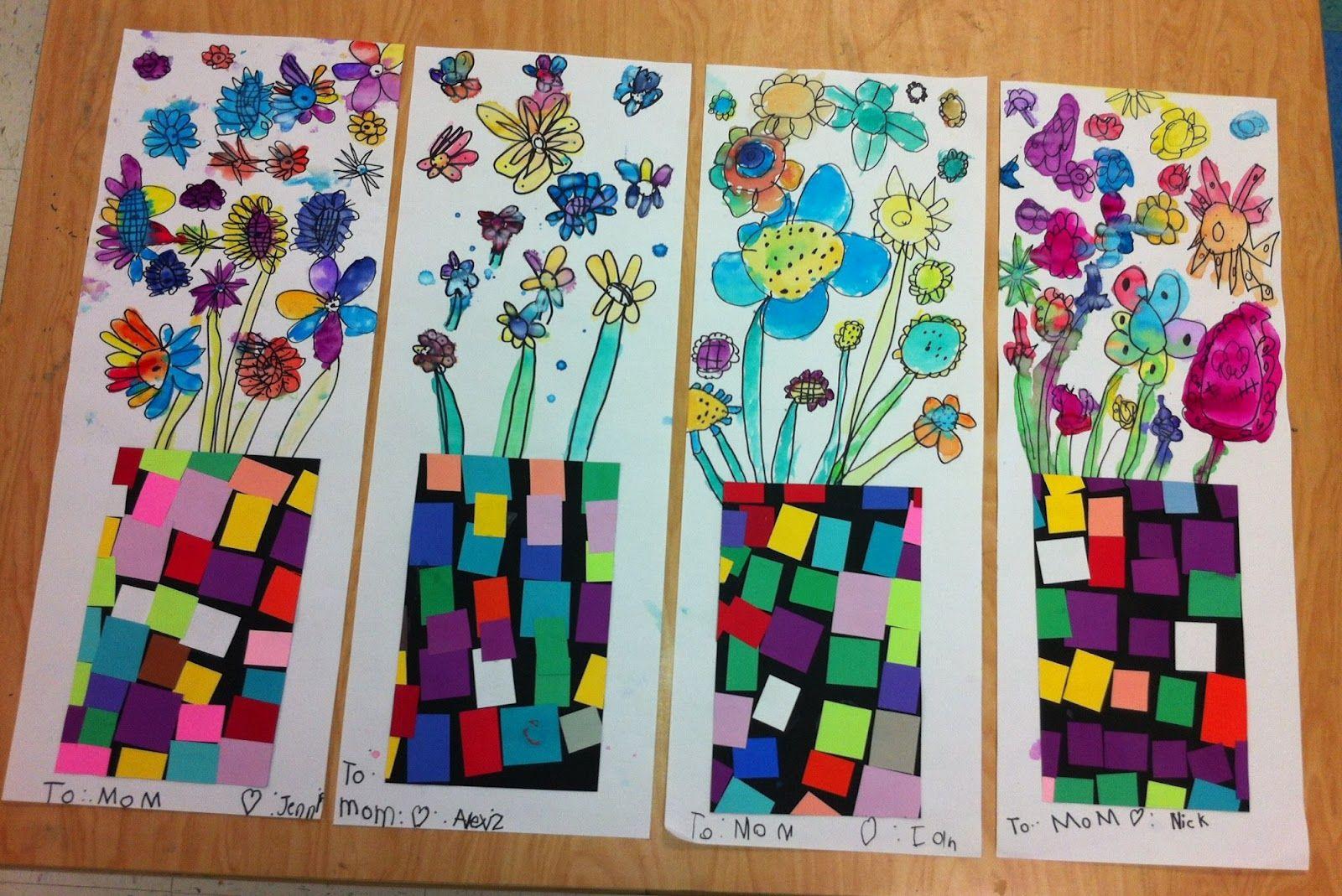 Kindergarten art - 3 classes; shape, color, line.  Love these!