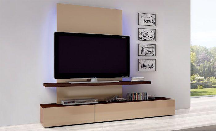 Wohnwand Weiß Wanddeko Wandbilder Wandideen Großer Fernseher Inches Beige  Regale