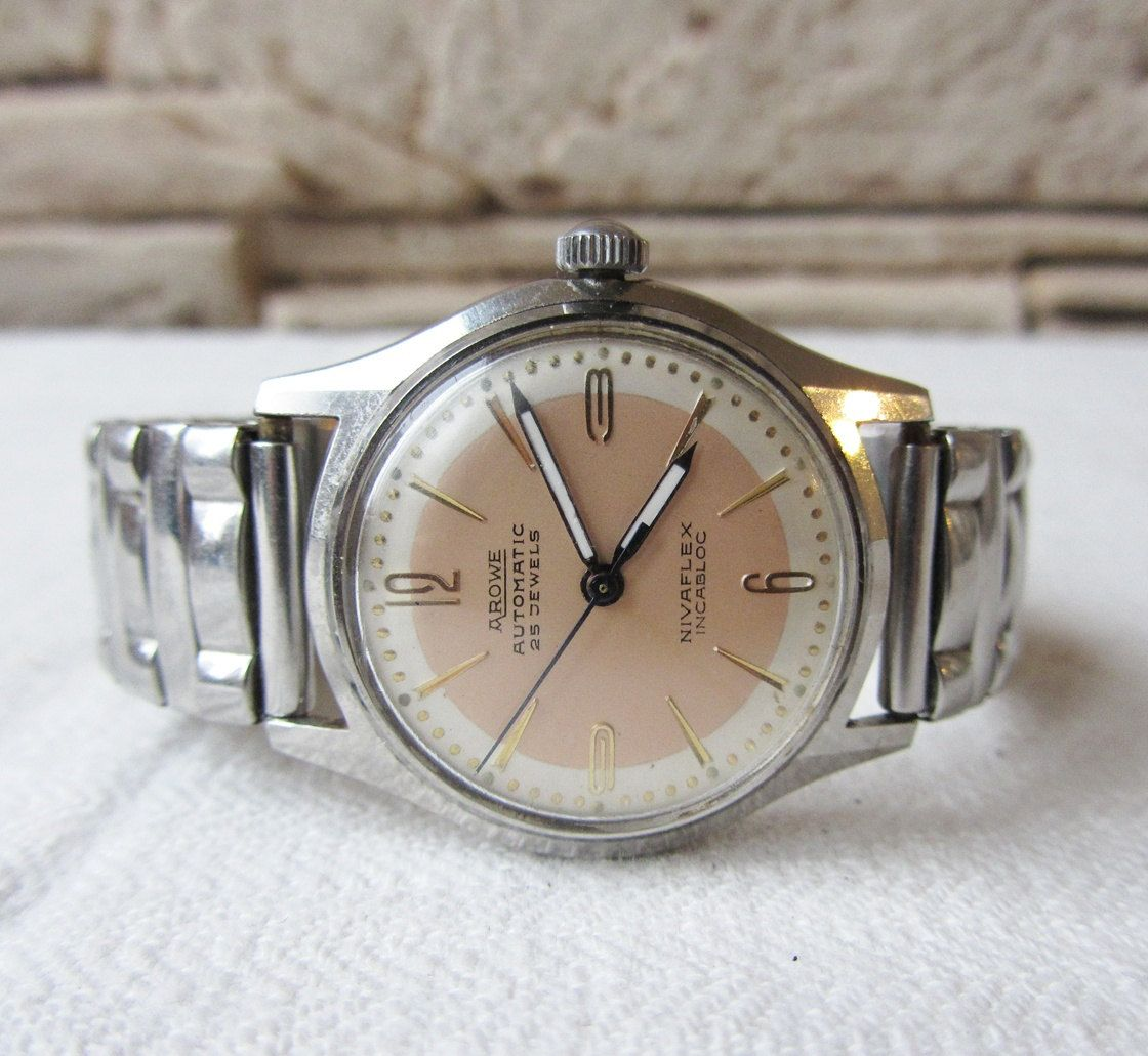 Rare Vintage Swiss Made Watch Arowe Automatic Incabloc Retro Watch Men S Wrist Watch Military Old Watch Collectible Watch Stainless Steel Retro Watches Men Vintage Watches Wristwatch Men