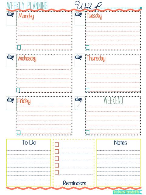 week at a glance form homeschool pinterest homeschool
