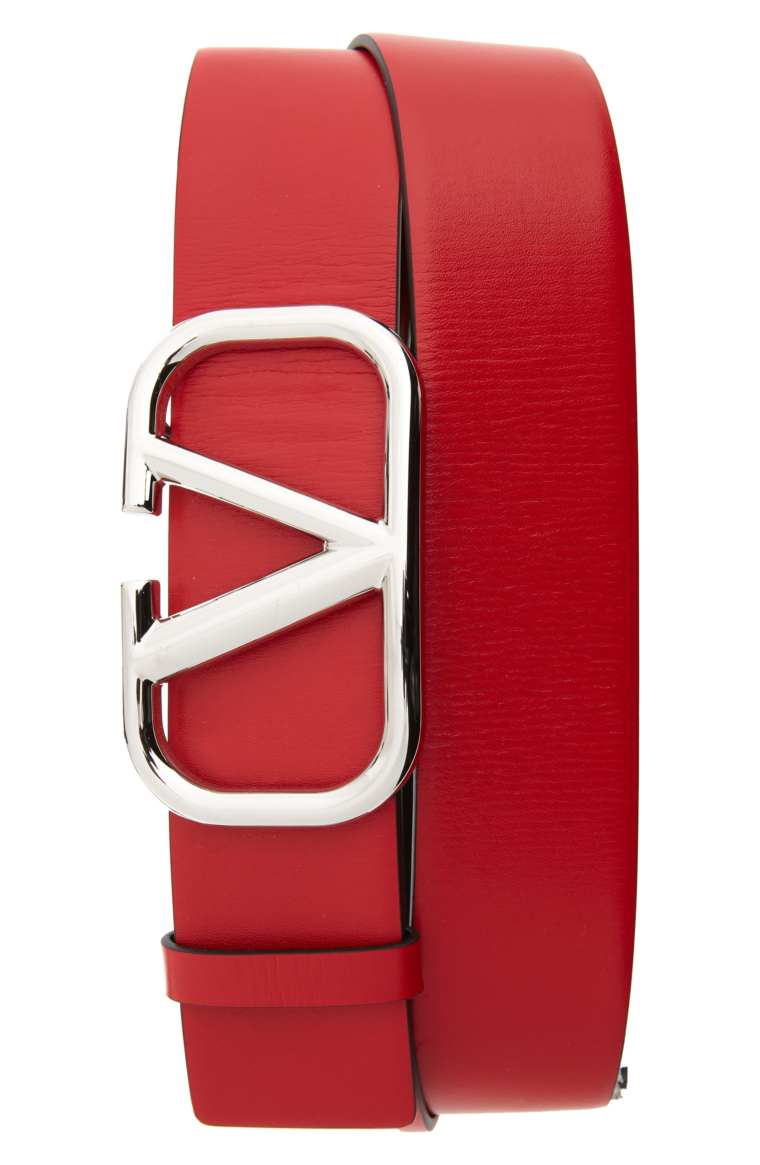 Men's Valentino VBuckle Leather Belt, Size 110 EU Red