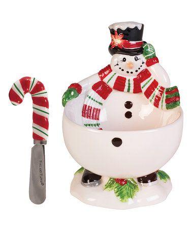 Look at this #zulilyfind! Top Hat Snowman Lidded Bowl & Candy Cane Spreader #zulilyfinds
