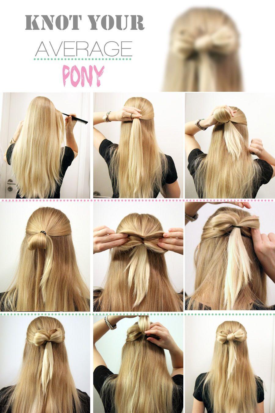 Onwijs strik in het haar maken | Mooi haar, Eenvoudige kapsels halflang GW-96