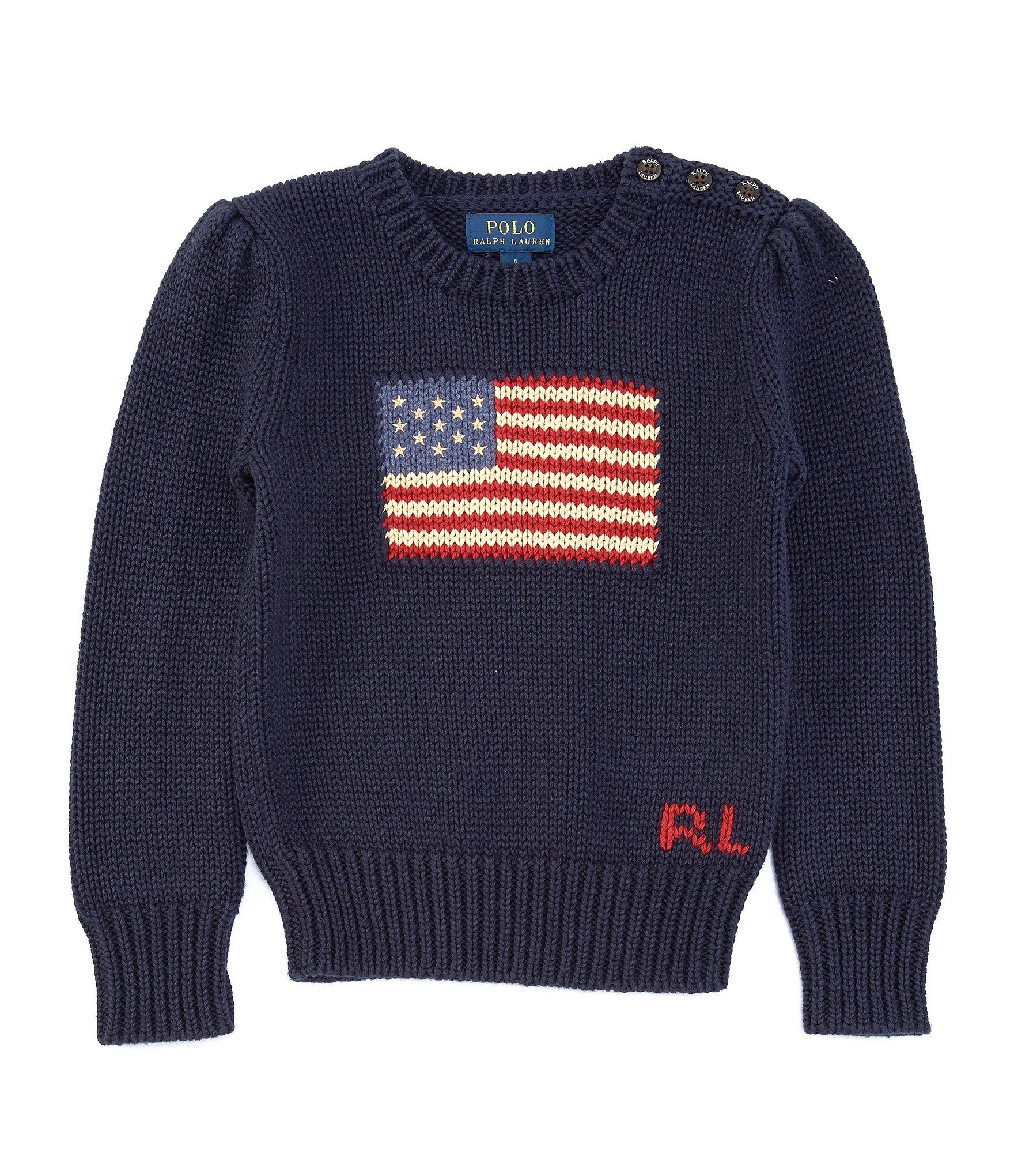 Polo Ralph Lauren Little Girls 2T-6X American Flag Sweater | Dillard's #americanflag