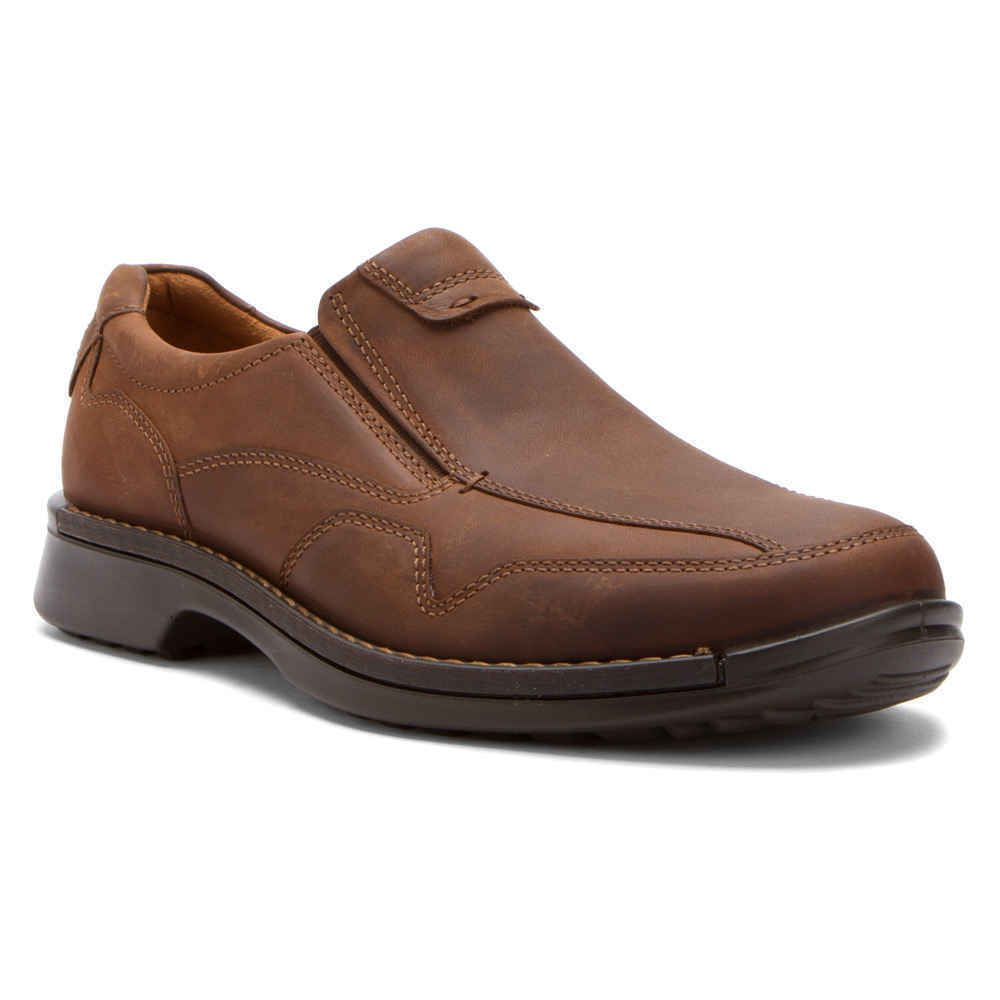 77764feb22 New ECCO Mens Fusion Slip On Comfort Cocoa brown Leather Shoes Size ...