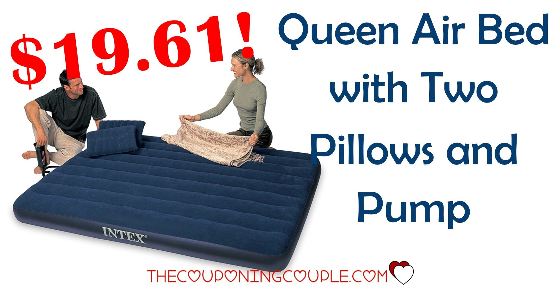 queen air bed set with 2 pillows and pump 19 61 coupon matchups