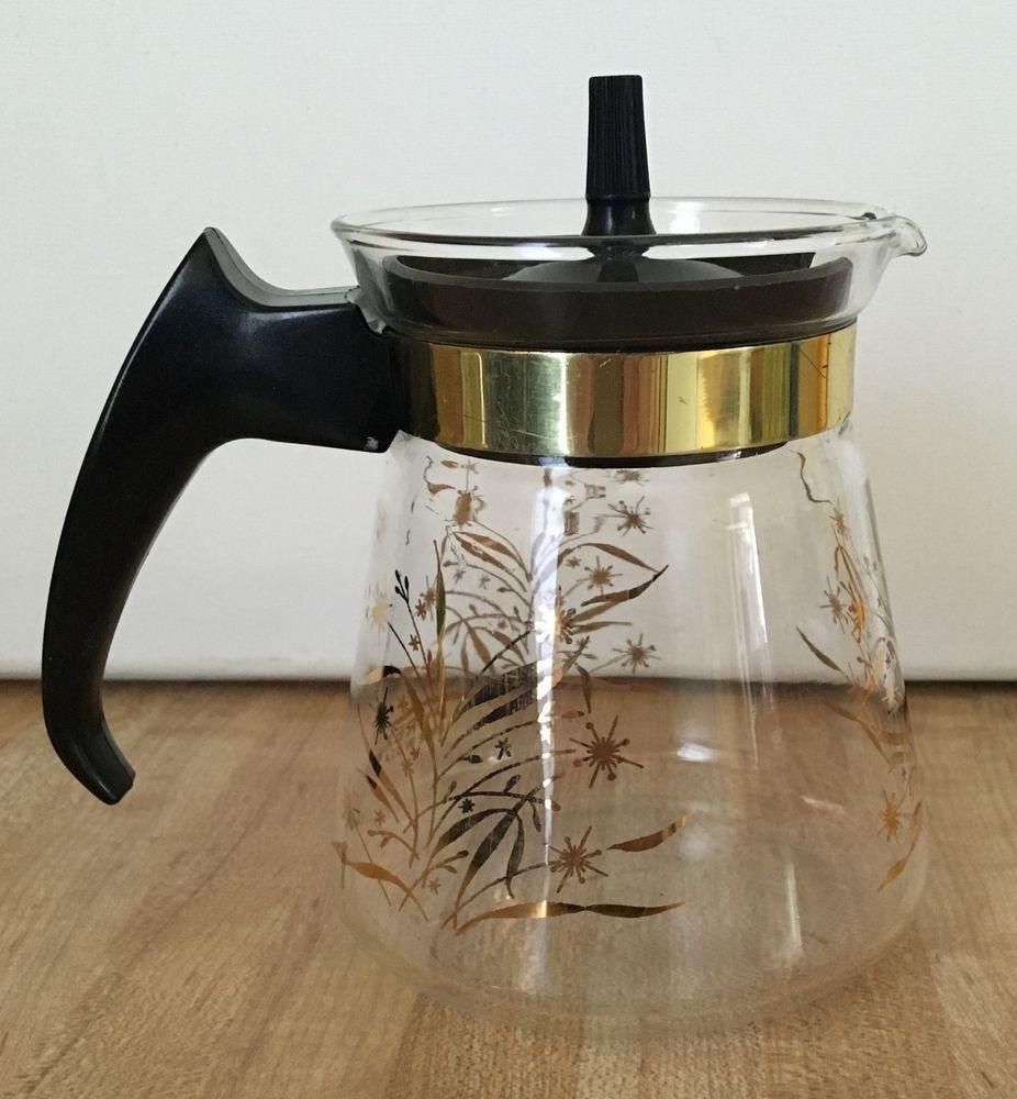 Vintage Pyrex 1 Cup Gold Wheat Glass Carafe Coffee Tea Pot