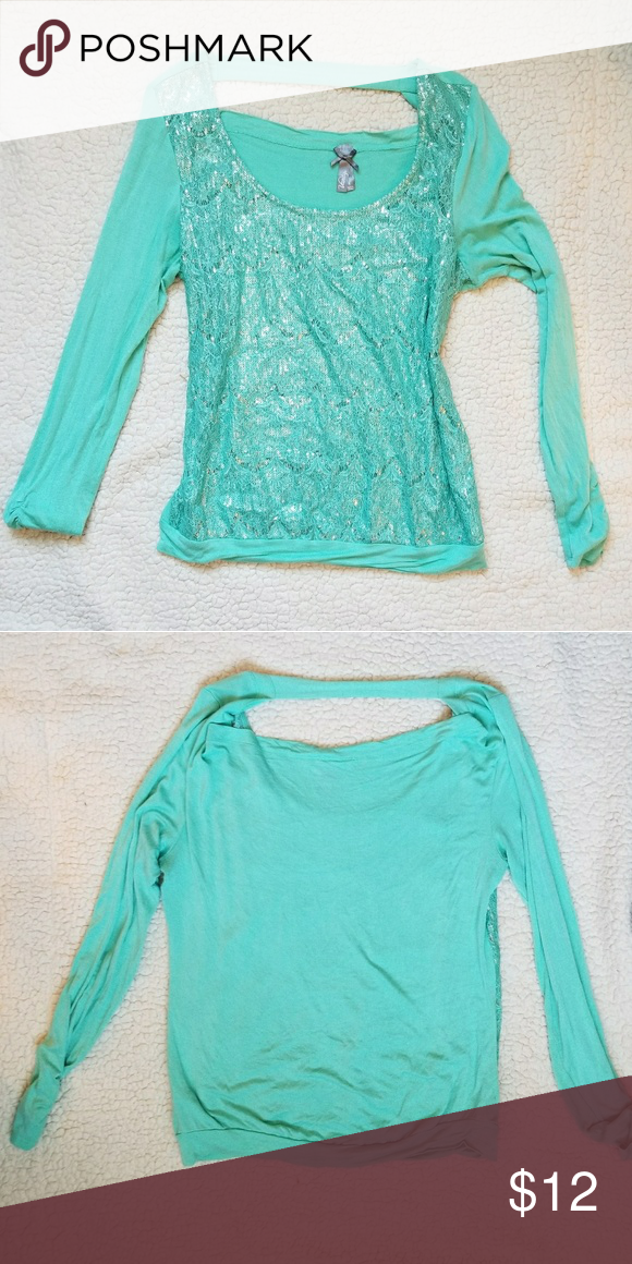 dd320b3b4702 Mint green sequin vanity shirt L Cute vanity mint green sequin long sleeve  top. Comes from a smoke free home. If you have any questions, please ask.