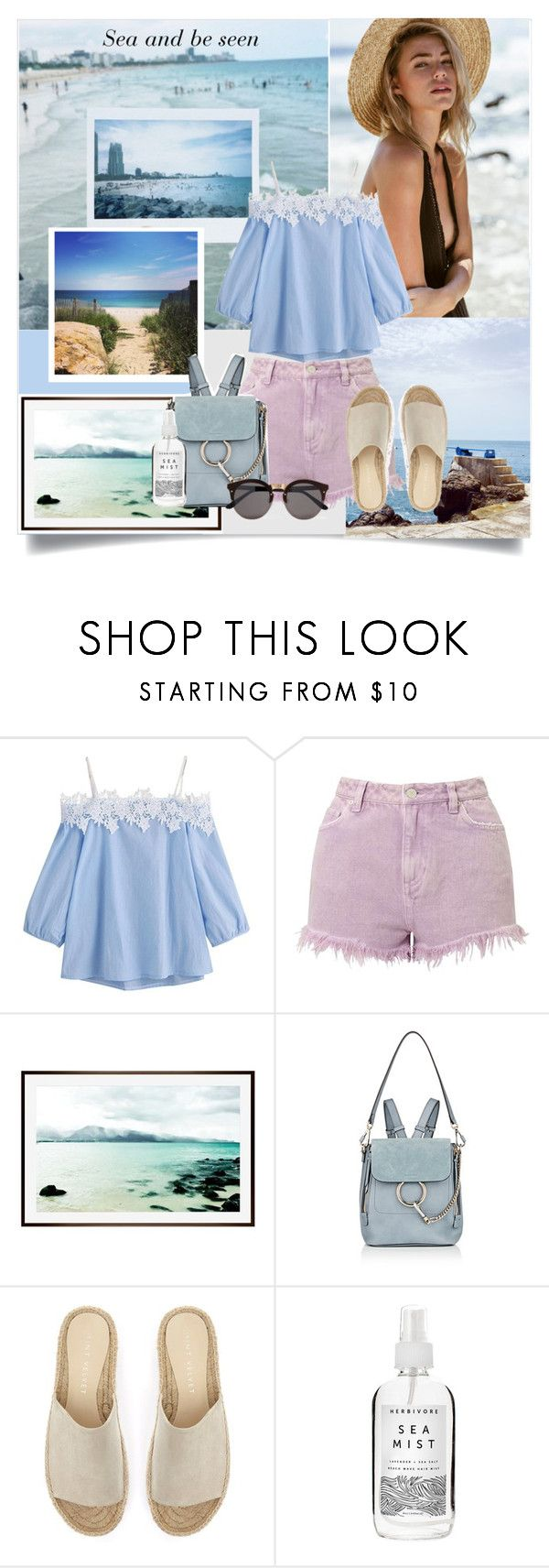 """Sea and be Seen !"" by fantasy-rose ❤ liked on Polyvore featuring Miss Selfridge, Pottery Barn, Chloé, Mint Velvet, Herbivore and Illesteva"