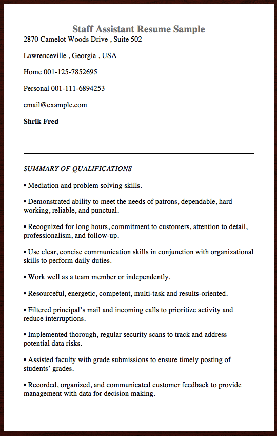Here Is The Free Example Of Staff Assistant Resume You Can