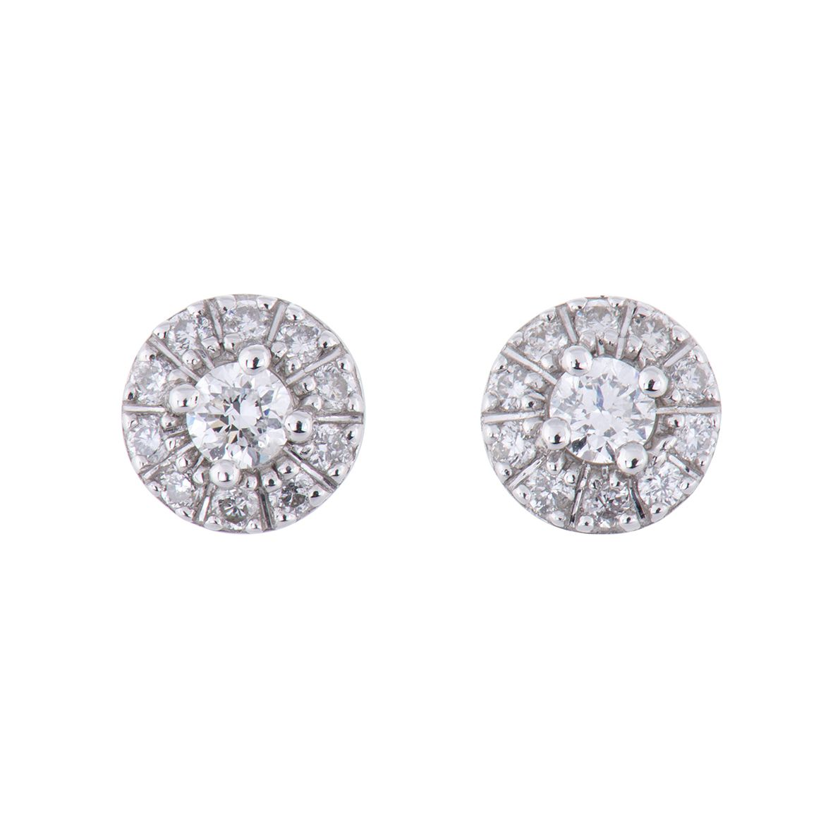 3f098df70e63f1 9ct White Gold round brilliant cluster 0.20ct earrings #chisholmhunter  #chlovestory