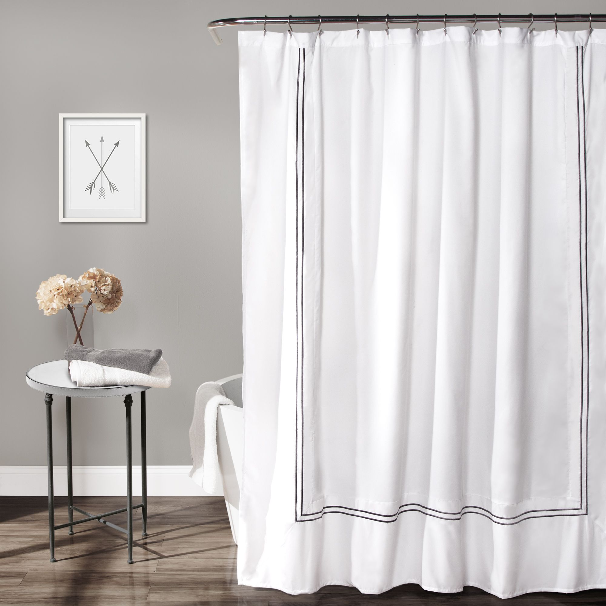 Lush Decor Hotel Collection Shower Curtain White Gray Fabric
