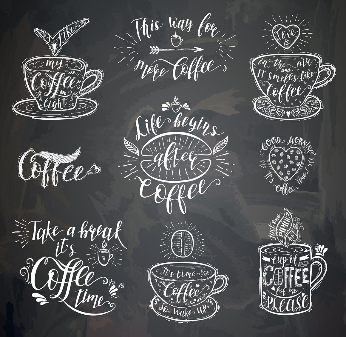 Set of Quotes for coffee Lettering Illustrations on Creative