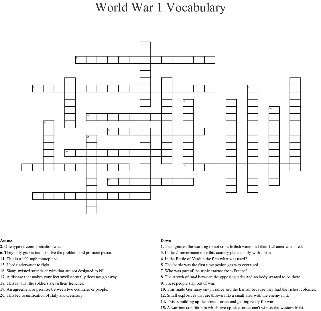 World War 1 Vocabulary Worksheet