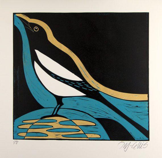 Linosnede ekster prentkunst abstracte kunst zwart for Hanneke koop interieur