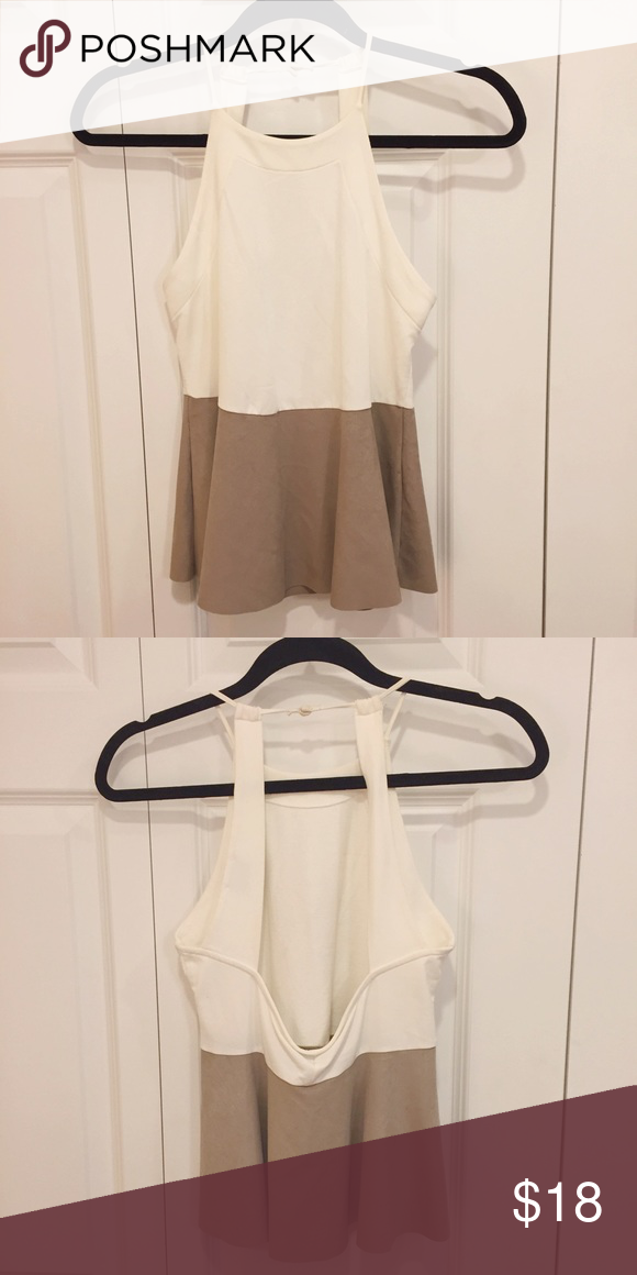 Zara Open Back Top: White and Nude Suede White and nude/tan suede top from Zara. Open back and very slight peplum--great for going out to dinners etc. Worn once Zara Tops