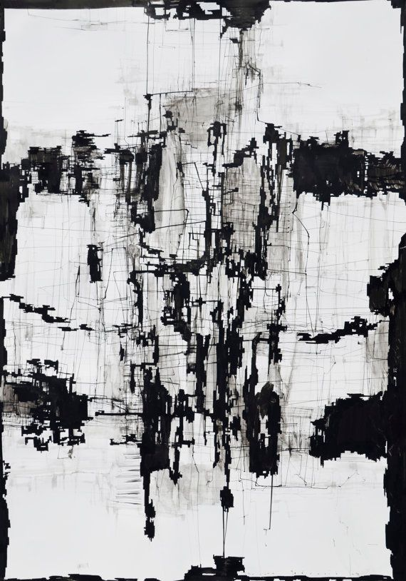 Large Abstract Black And White Art Print Giclee 20x14 Ink