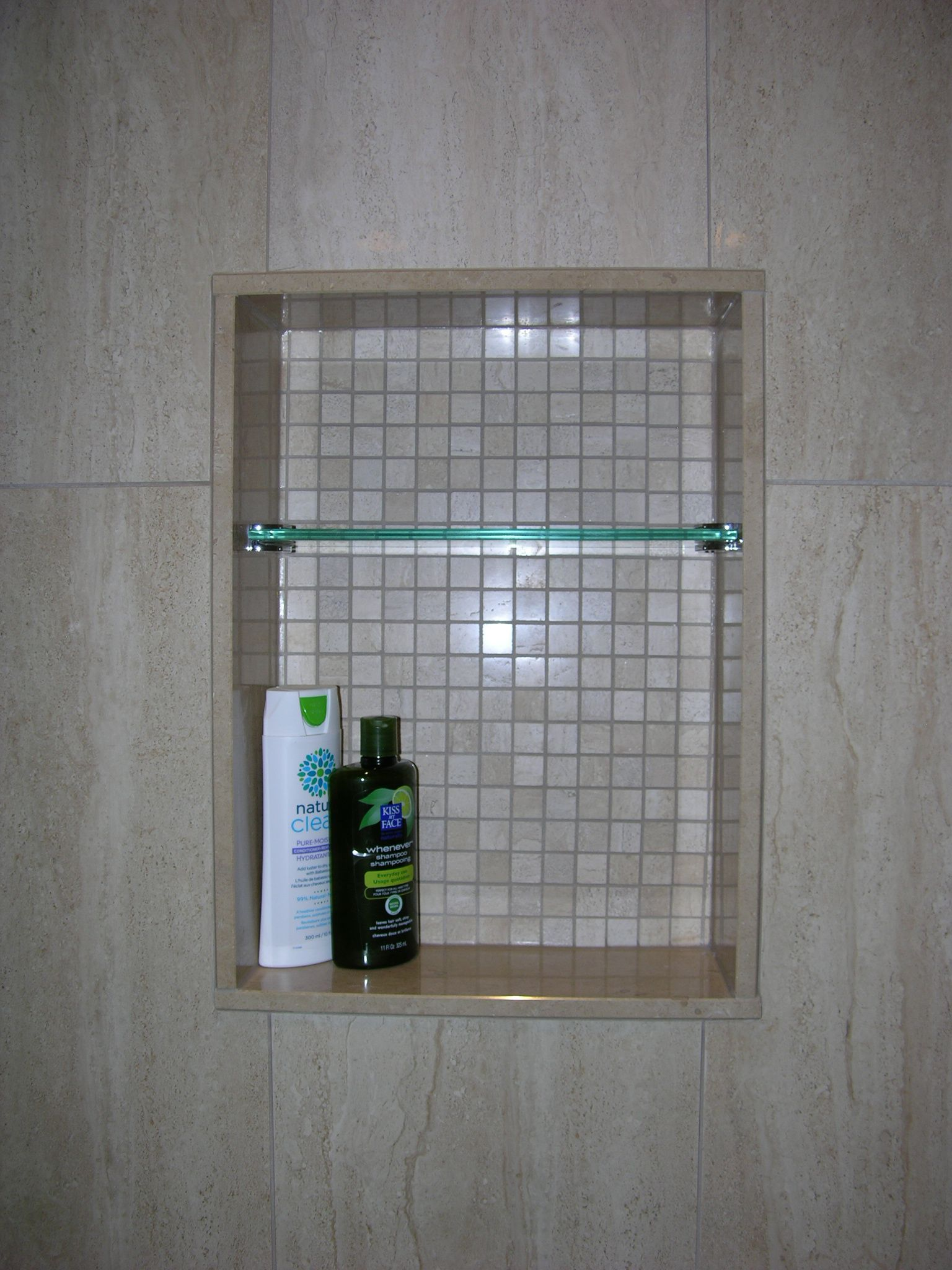 custom shower niche with glass shelf caledon tile. Black Bedroom Furniture Sets. Home Design Ideas