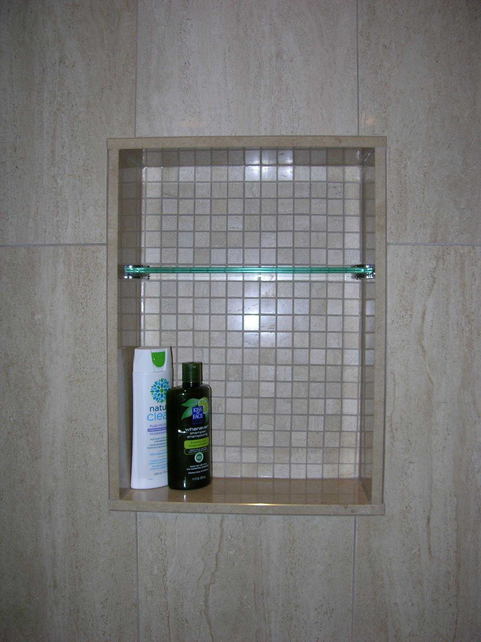 Custom Shower Niche With Glass Shelf, Caledon Tile Renovation