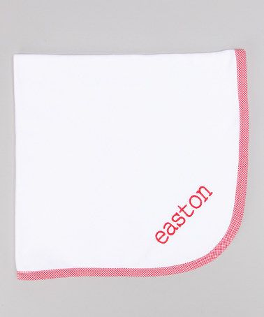 Red & White #Monogrammed #Blanket by Lollypop Kids Clothing #zulily $19.99