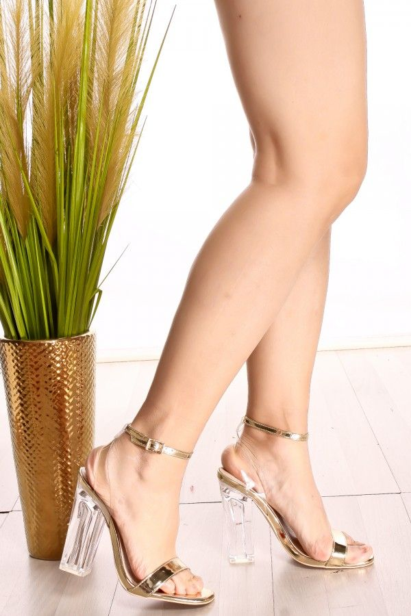 c3d6a4339f74 GOLD OPEN TOE ANKLE BUCKLE STRAP CLEAR TRANSPARENT PERPETUAL PERSPEX CHUNKY  HIGH HEEL
