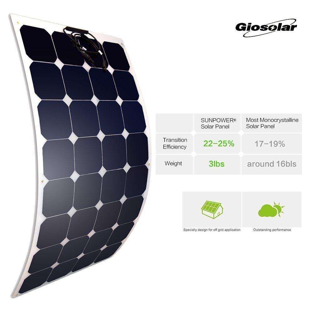 Giosolar Placa Solar Monocristal 100 W Panel Solar De Alto Rendimiento De 100 Watios Placa Solar Flexible Fotovolta Placas Solares Paneles Solares Autocaravana