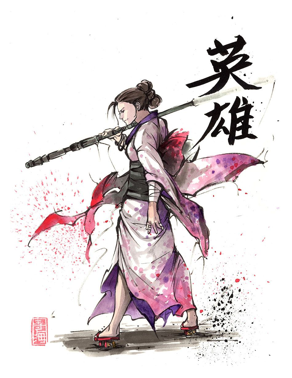 Rey From The Latest Star Wars Saga Crossed Over With Traditional Japan Calligraphy Hero Rey Star Wars Star Wars Fan Art Star Wars Art