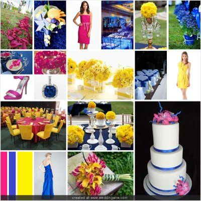 blue fuschia and yellow color theme WEDDING THEMES