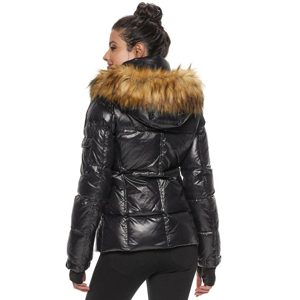 Women S S13 Faux Fur Hooded Glossy Down Puffer Jacket Kohls Fur Jacket Women Black Fur Jacket Jackets [ 1024 x 1024 Pixel ]
