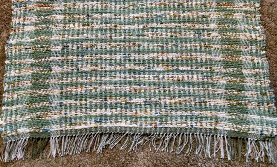 Handwoven rag rug green and off white 3 feet by BackPorchCountry