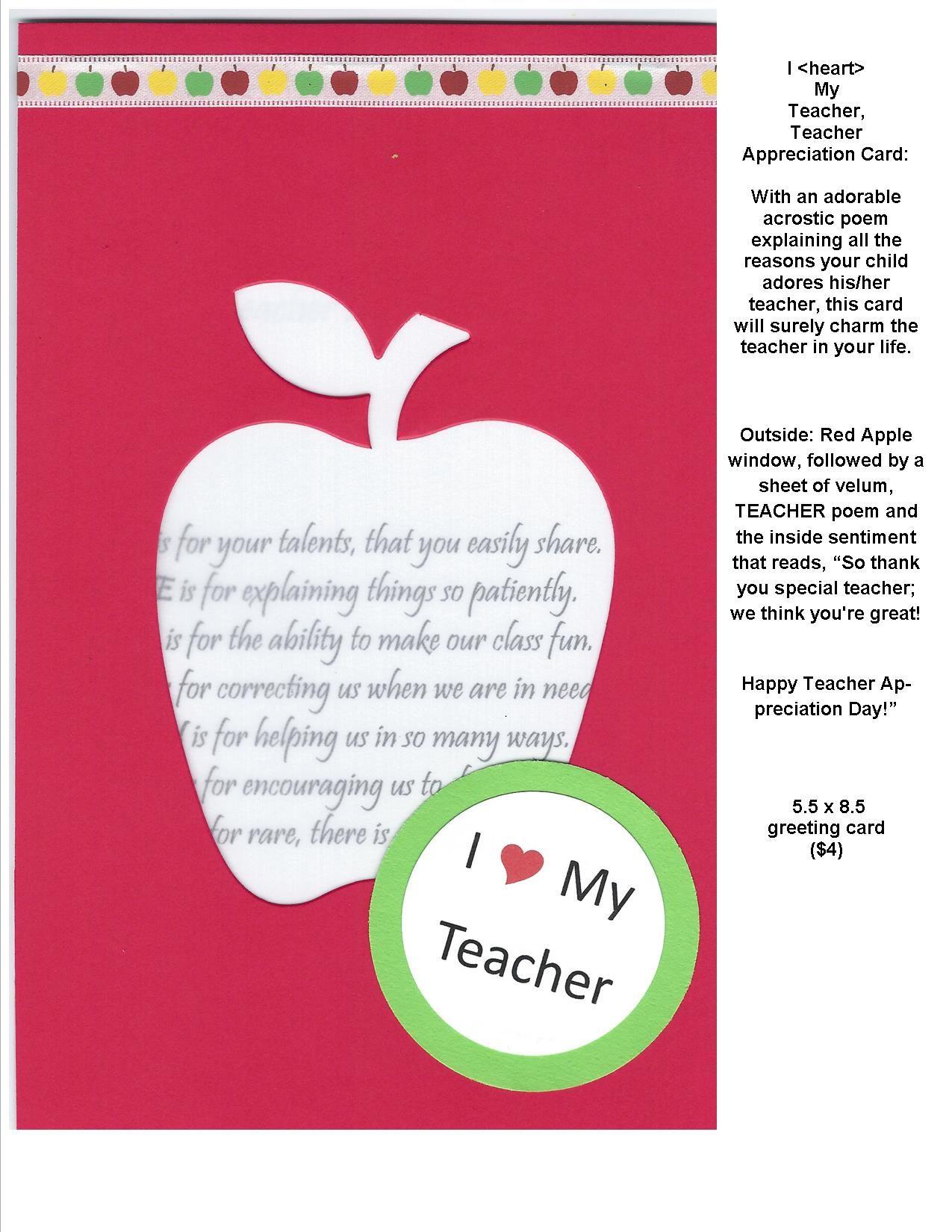 I My Teacher Teacher Appreciation Card With an adorable acrostic
