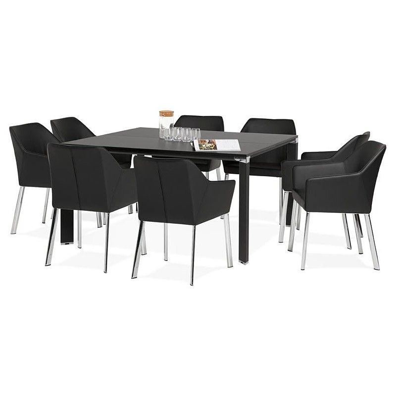 Bureau Table De Reunion Moderne 140x140 Cm Ricardo En Bois Noir Table De Reunion Bureau Bois Table