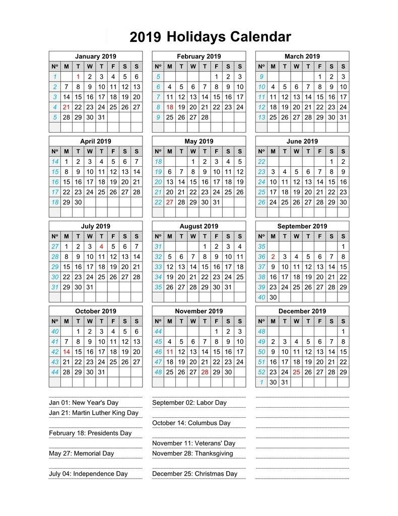 2019 Calendar With Indian Holidays Calendar2019 Printablecalendar