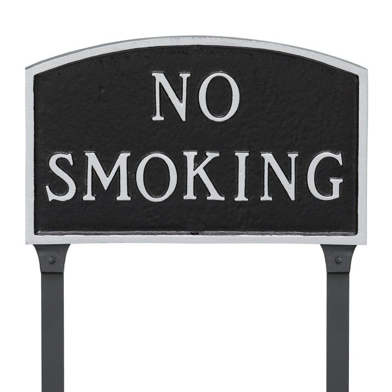 Montague Metal Products No Smoking Arched Lawn Plaque - SP-9SM-BS-LS