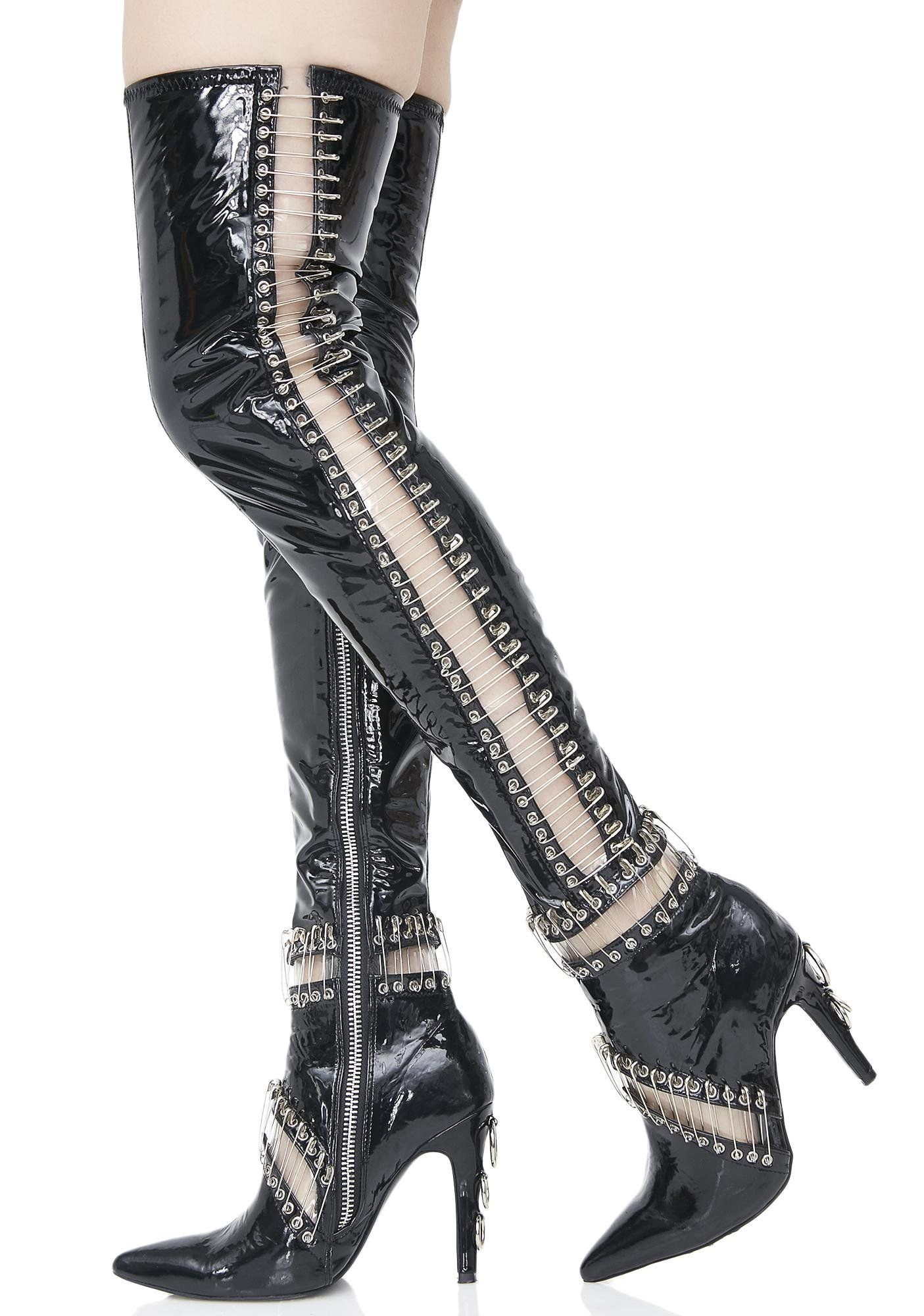 b6256de09ae2 Current Mood Pinned Thigh High Boots cuz once yew lock  em in