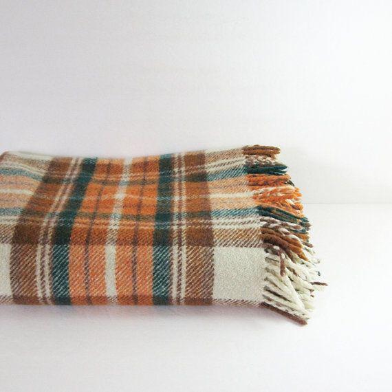 Vintage Wool Plaid Blanket Orange Green Fringed Blanket Rustic Cabin Decor Warm Camp Blanket Picnic Blanke Camping Blanket Throw Blanket Rustic Vintage Decor