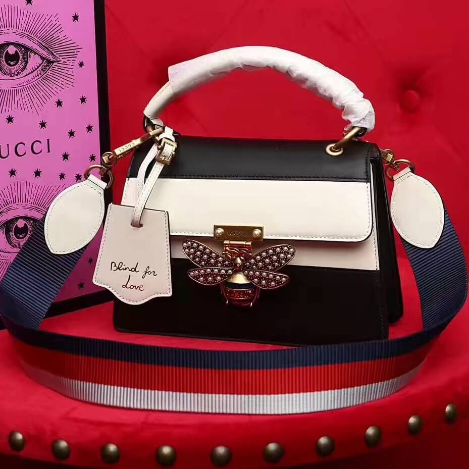 6ade5a4143d Gucci Queen Margaret Leather Small Top Handle Bag 476541 Black White 2017