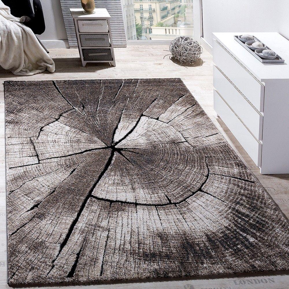 Teppich Wohnzimmer Holzstamm Optik Natur Grau Braun | House