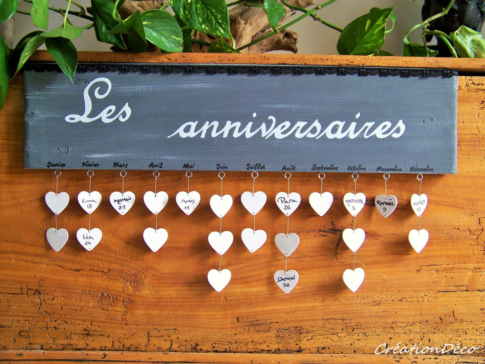 cadre d co bois anniversaire avec coeurs d corations murales par creationdeco cr ation. Black Bedroom Furniture Sets. Home Design Ideas