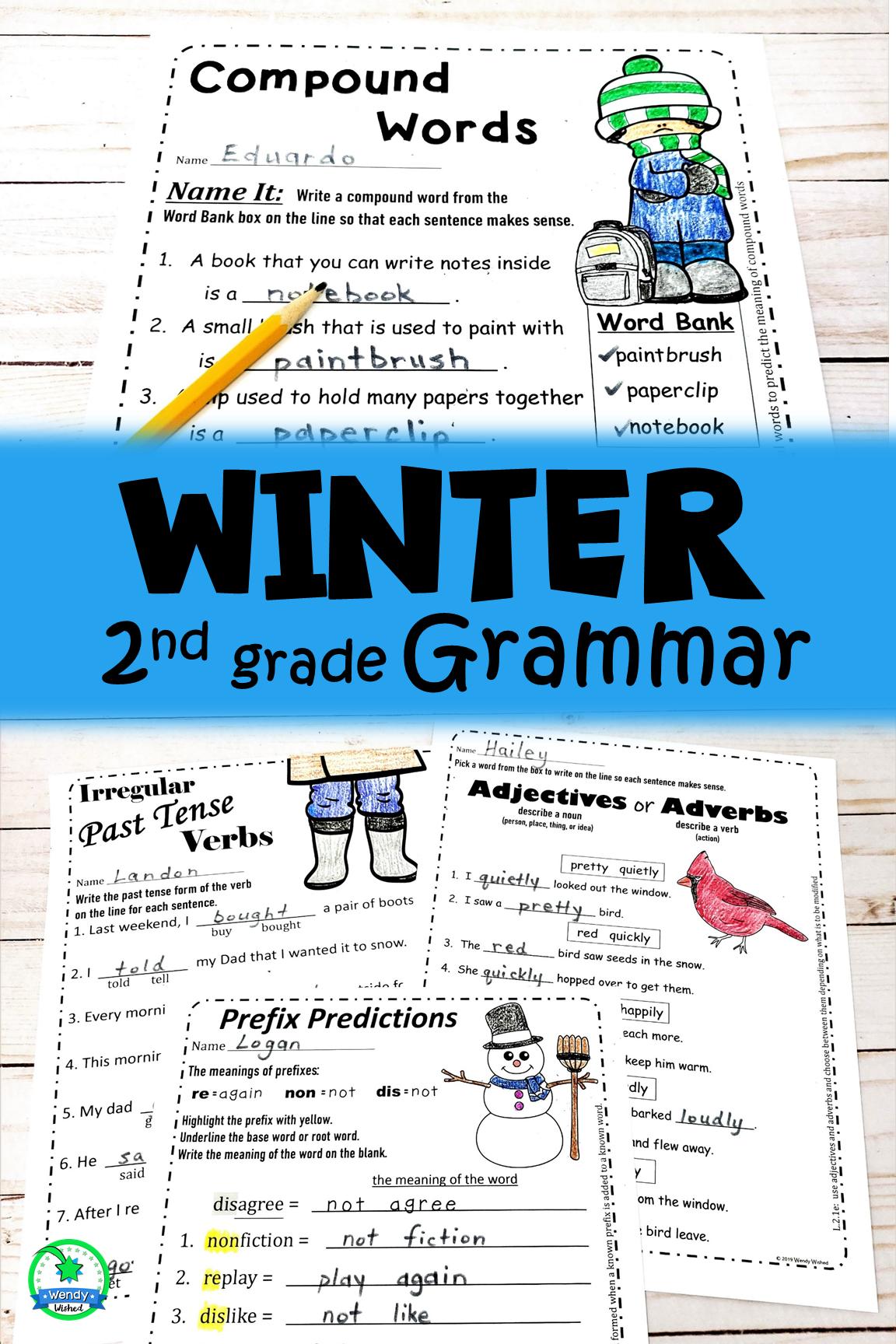 Winter Grammar Worksheets In