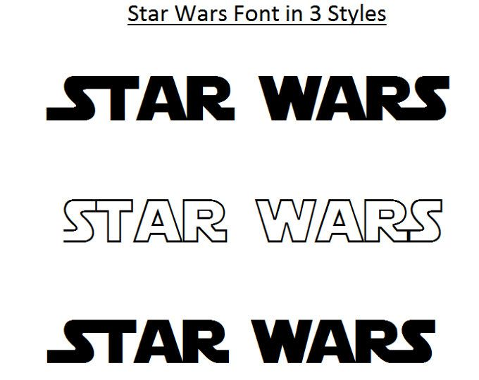 3 STYLE FONTS Star Wars Font, Star Wars Alphabet, Star Wars