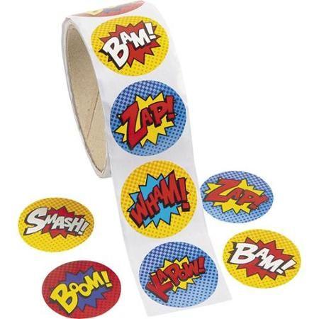 Superhero 1 5 sticker favors 100 count party supplies walmart com