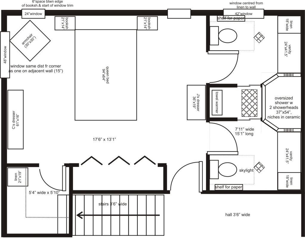 Master bedroom addition floor plans his her ensuite for Bathroom designs and floor plans