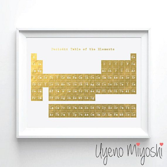 Periodic table i gold foil print gold print custom print in gold periodic table gold foil print gold print custom print in gold illustration art urtaz Image collections