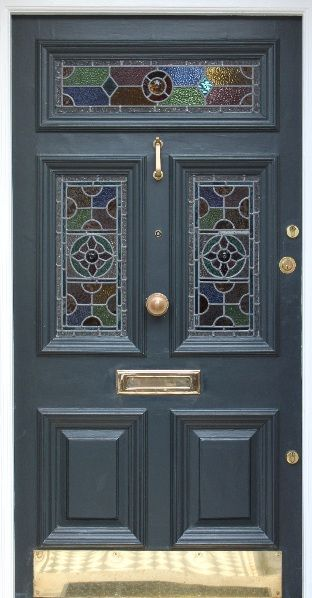 Victorian front door with leaded light south London | texture ...